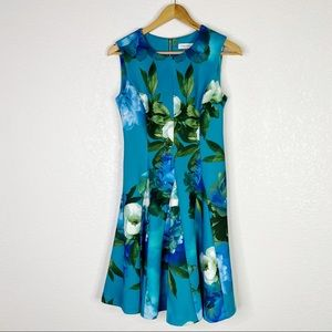 Calvin Klein Blue Floral Fit and Flare Dress